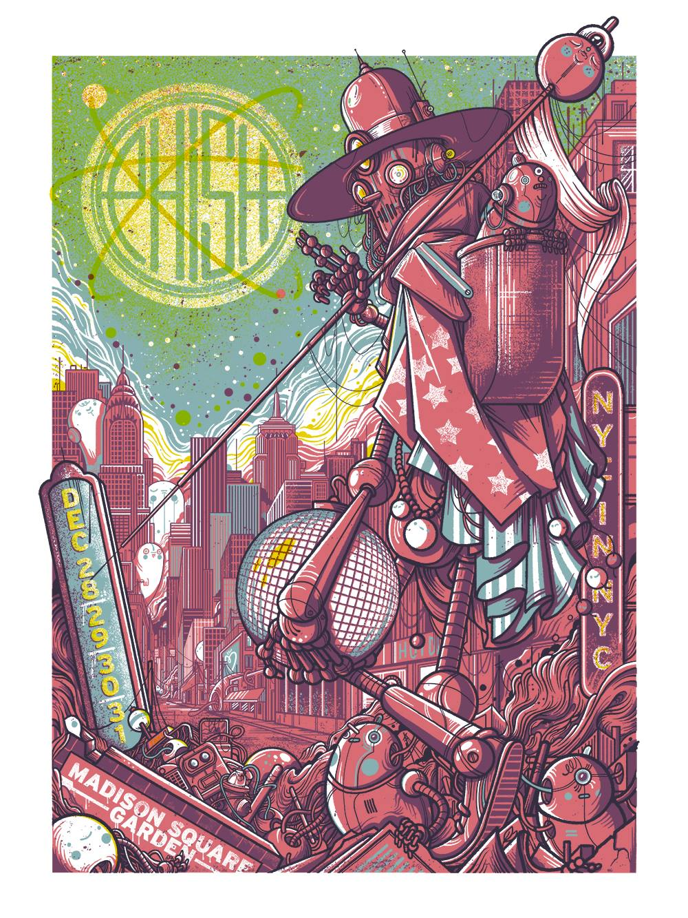 Phish Signed Poster Dec 28 31 2016 Madison Square Garden Mimi Fishman Foundation Charity